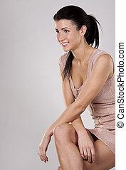 brunette in dress - pretty brunette wearing pencil dress on...