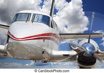Corporate Airplane - Close up of corporate airplane with...
