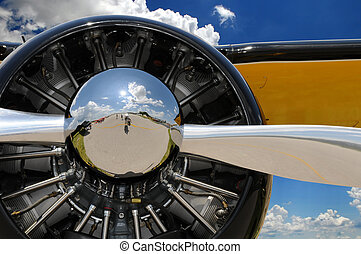 Propeller and Engine of Vintage Airplane - Propeller and...