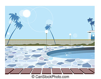 Swimming pool - This illustration is a common cityscape.