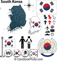 South Korea map - Vector of South Korea set with detailed...