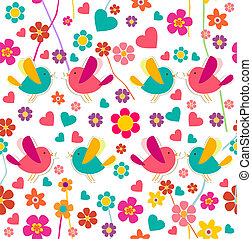 Spring bird and flower pattern - Spring birds and flowers...
