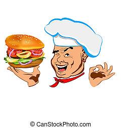 Happy joyful Chef - Chef and big hamburger
