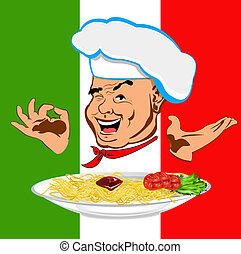 Happy joyful Chef and traditional Italian spaghetti
