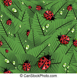 Spring leaves and ladybug pattern - Spring leaves and beetle...