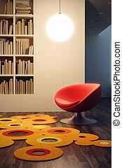 pop art style of lounge room - design of lounge room, 3d...