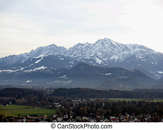 Panorama of alps mountain - Panorama of Salzburg with alps...