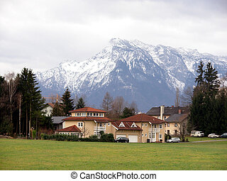 A settlement under alps - Outdoor nature background