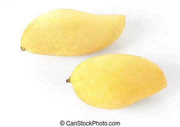 Ripe mangoes isolated on  white background.
