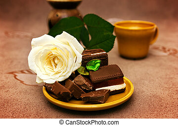 Chocolate with white rose