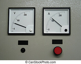 Voltmeter and ampermeter on the desk box