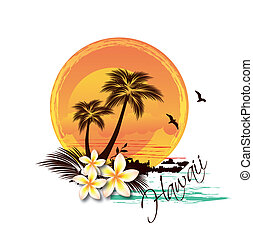 Tropical Island Illustration - Tropical Island Illustration...