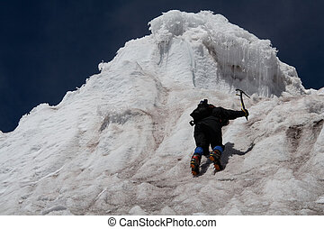 vertical limit - a woman is climbing a vertical ice wall