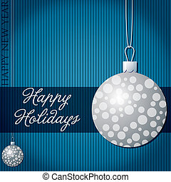 Merry Christmas - Happy Holidays snow bauble card in vector...