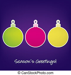 Merry Christmas - Seasons Greetings sticker bauble card in...