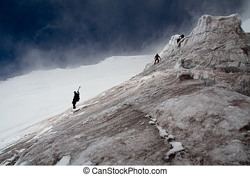 way back home - climbers on the descent from Volcano...