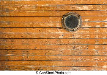 Old ship porthole - Old wooden ship porthole