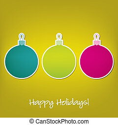 Merry Christmas! - Happy Holidays sticker bauble card in...