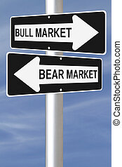 Bull or Bear - A conceptual road sign on business or finance...