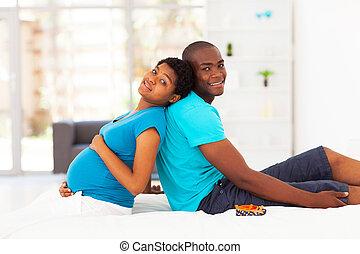 embarazada, mujer, marido