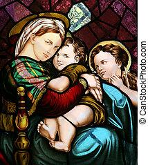 bebé, Virgen, maría, tenencia,  Jesús