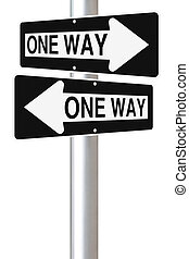 One Way Street Signs - Two one ways street signs pointing at...