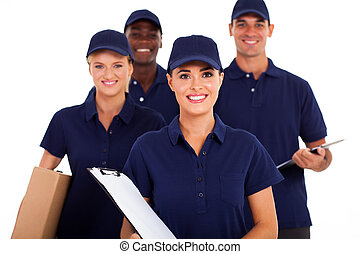delivery service staff half length - group of delivery...