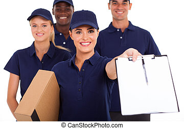 professional courier service staff - group of professional...