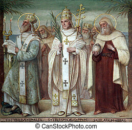 Carmelite Saints - Saint Cyril, Telesphorus and Hilarius,...