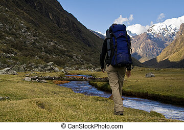 female trekking - walking through the great cordillera...