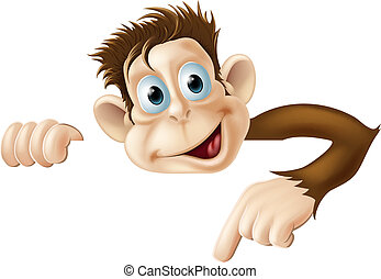 Pointing Monkey - An illustration of a cute cartoon monkey...