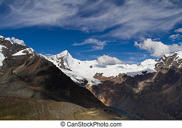 mountain landscape - mountain view in the cordillera blanca,...