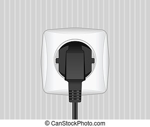 electric plug and outlet - Electric plug and socket on a...