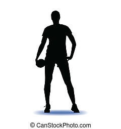 handball player vector illustration - Isolated female...