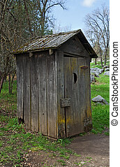 Old outhouse - Old retro wooden outhouse in State Historical...