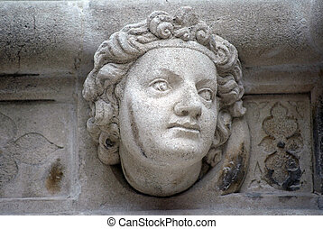Head, St. James Cathedral, Sibenik - Antique bas-relief...