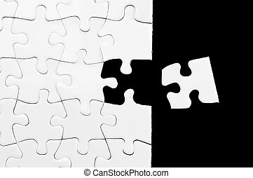 One last piece to complete - Blank white puzzle with missing...