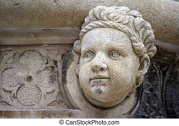Antique bas-relief architectural detail of the St. James...