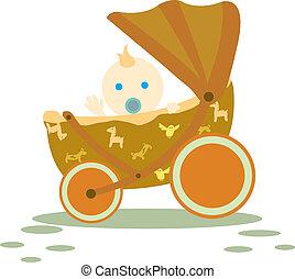 baby in stroller - cute baby waving in brown stroller...