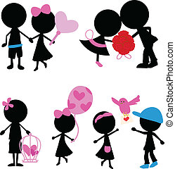 silhouettes stick figure couple with love items