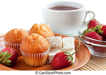 Sweet breakfast or dinner: strawberry, cream cheese, muffins...