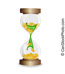 Time is money, hourglass with money