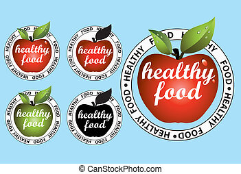 Apple stickers for healthy food