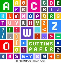 Alphabet of paper, cut out, white on multicolor background -...