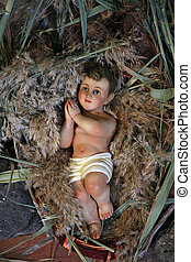 A baby Jesus figure on Christmas, Tabgha-Church of St Peters...