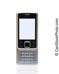 Mobile phone - New technology pocket phone. Silver mobile...