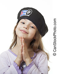 little girl in the Cuban beret - Beautiful little girl in...