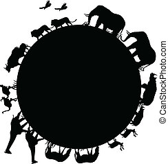 animal silhouette and world - illustration of animal...