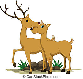 cute couple giraffe cartoon - vector illustration of cute...
