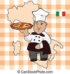 Chef cook with pizza on plate
